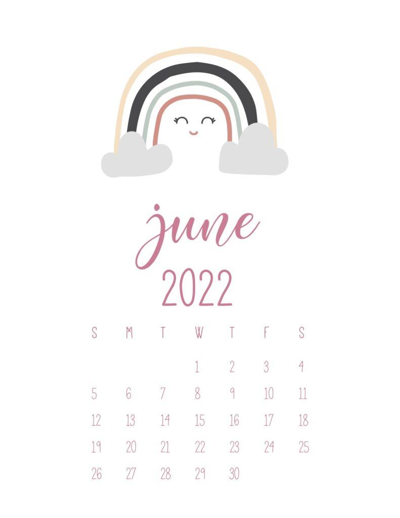 free cute printable calendar 2022 - june