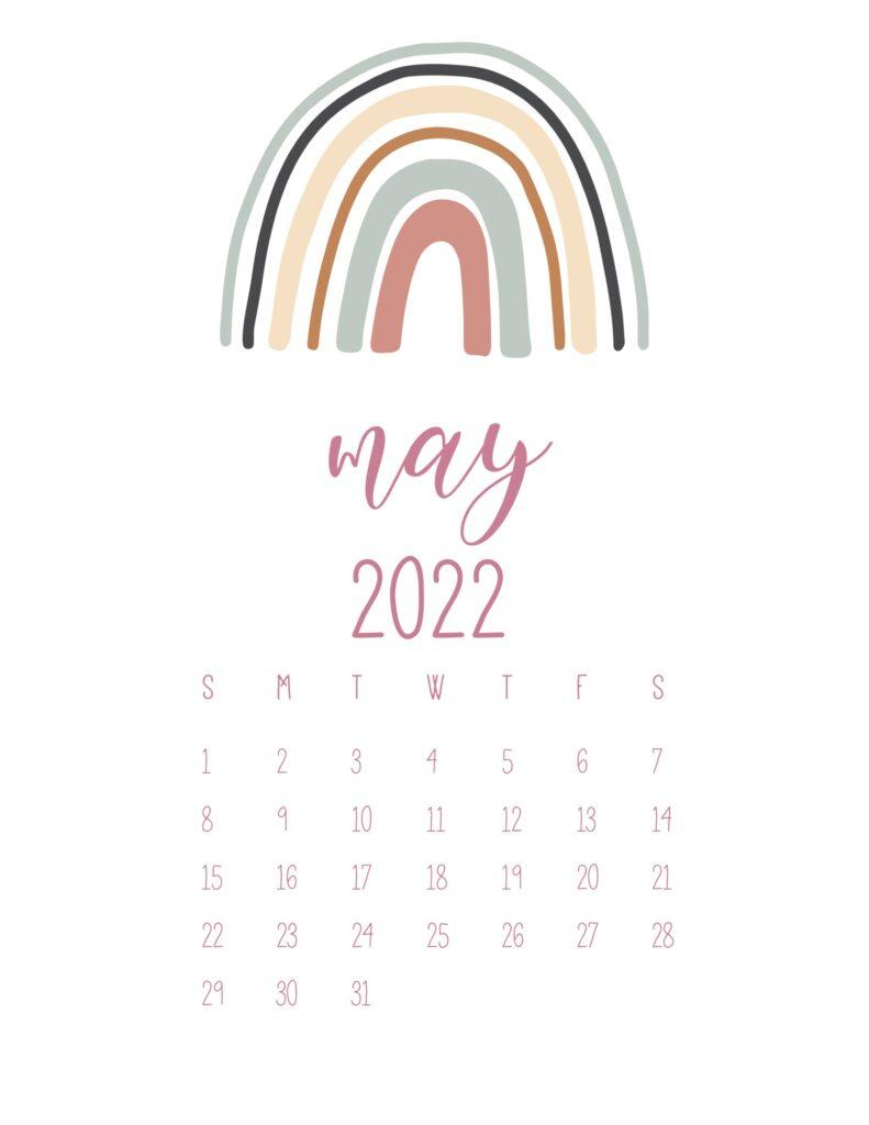 free cute printable calendar 2022 - may