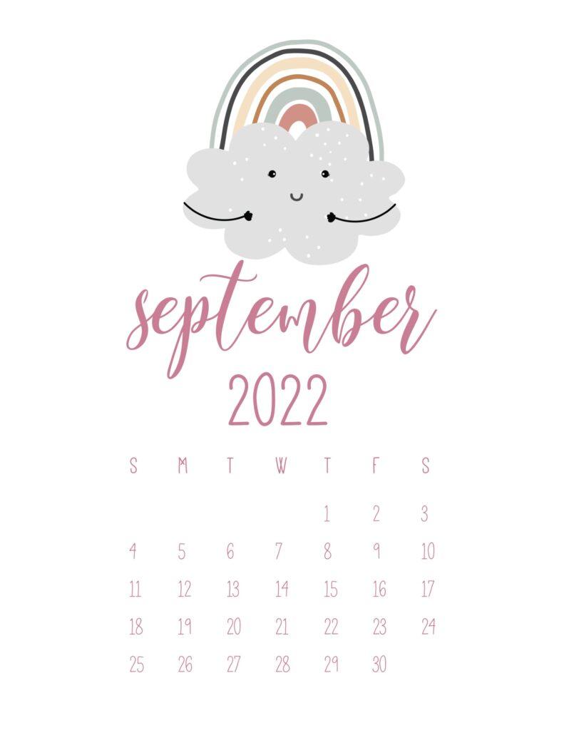 free cute printable calendar 2022 - september