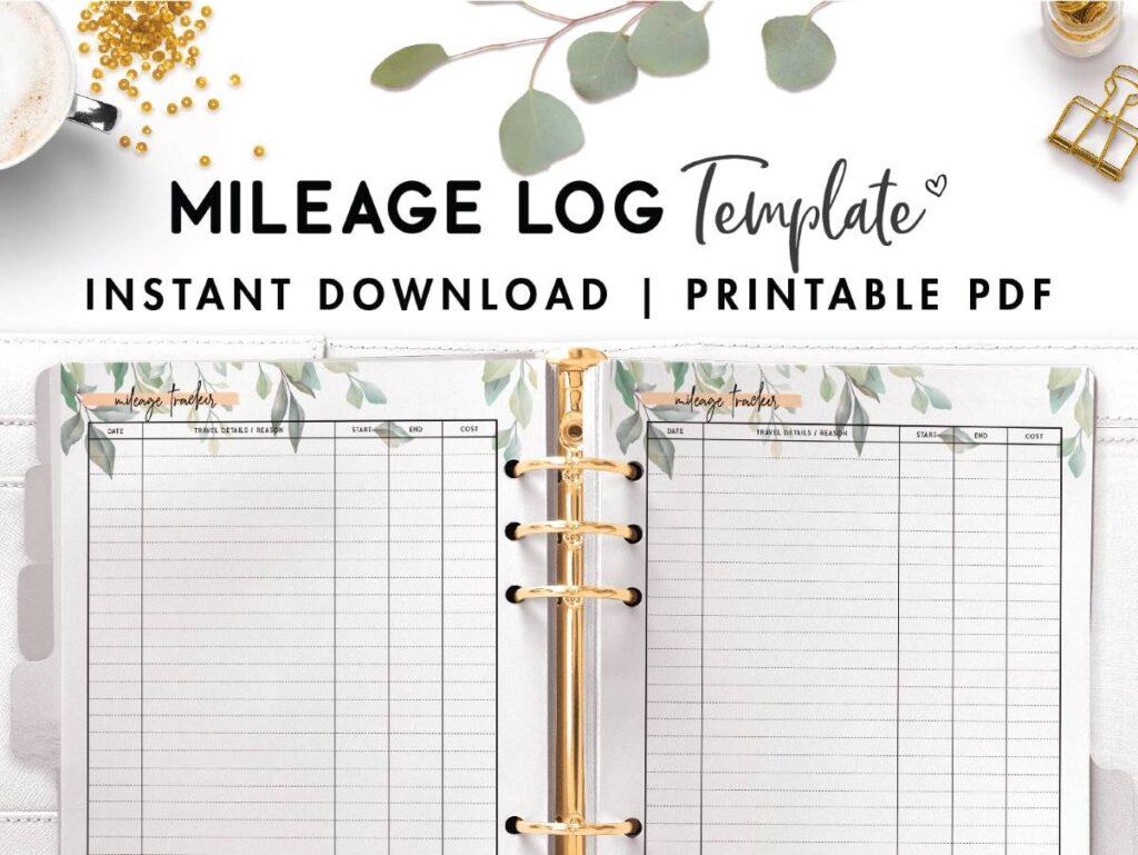 free mileage log template