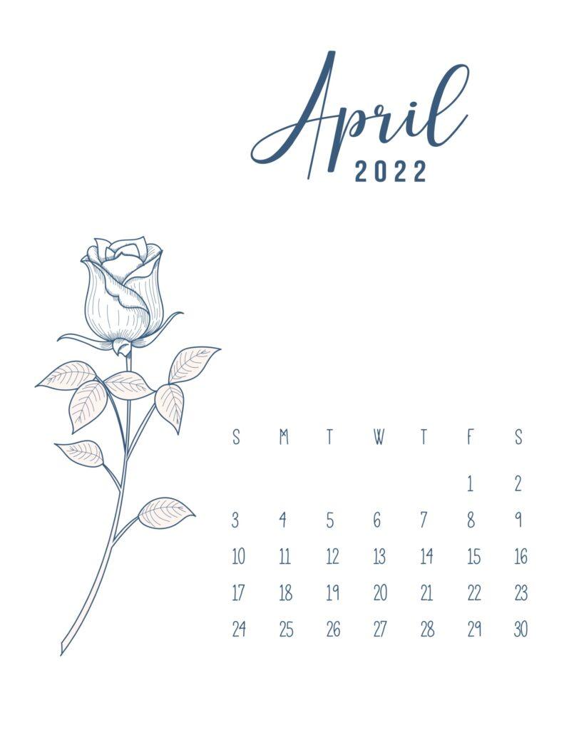 free printable 2022 calendar - april