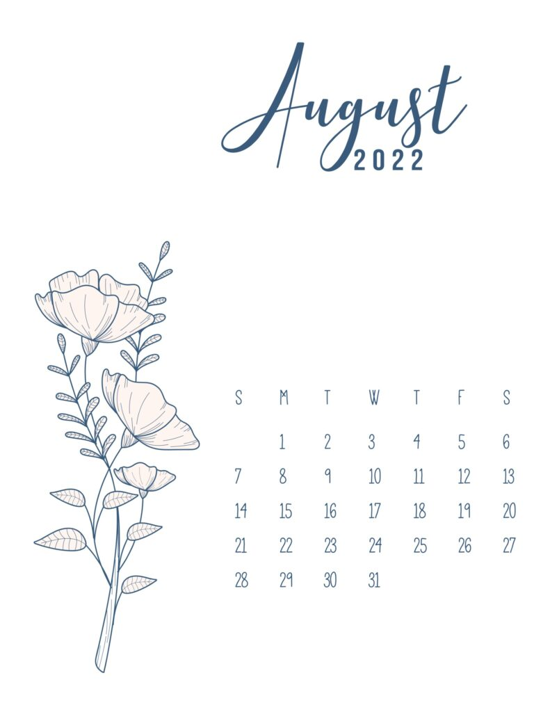 free printable 2022 calendar - august