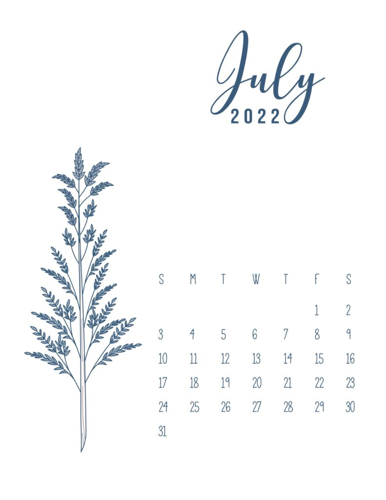 free printable 2022 calendar - july