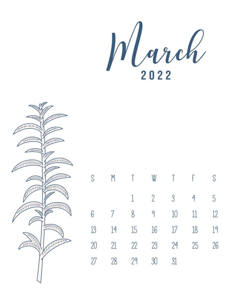 free printable 2022 calendar - march