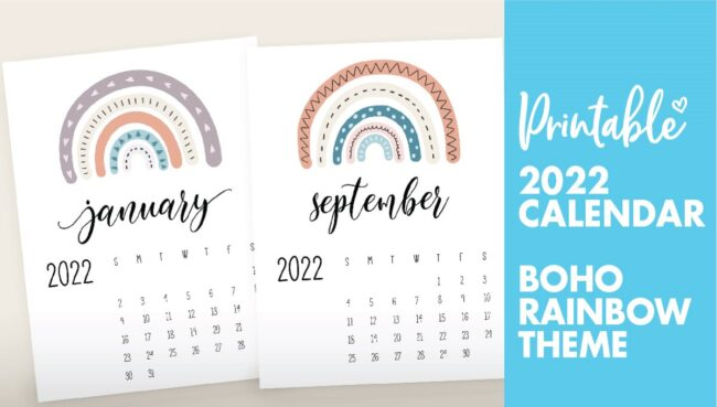 free printable 2022 rainbow calendar