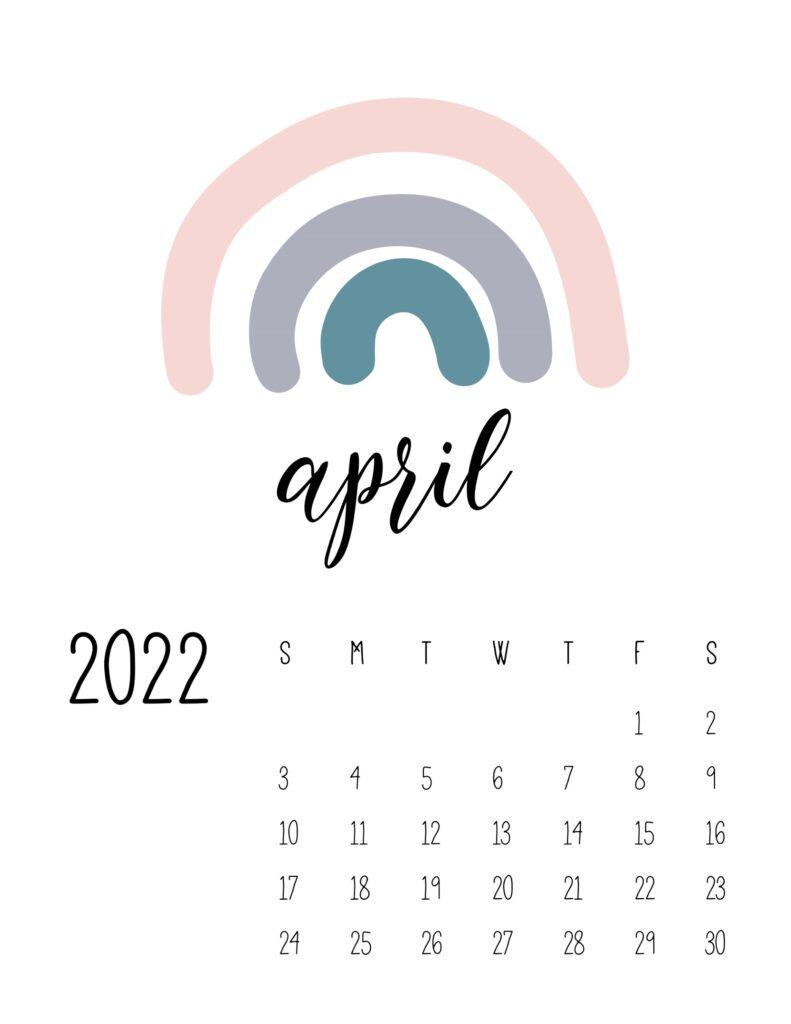 free printable 2022 rainbow calendar - april