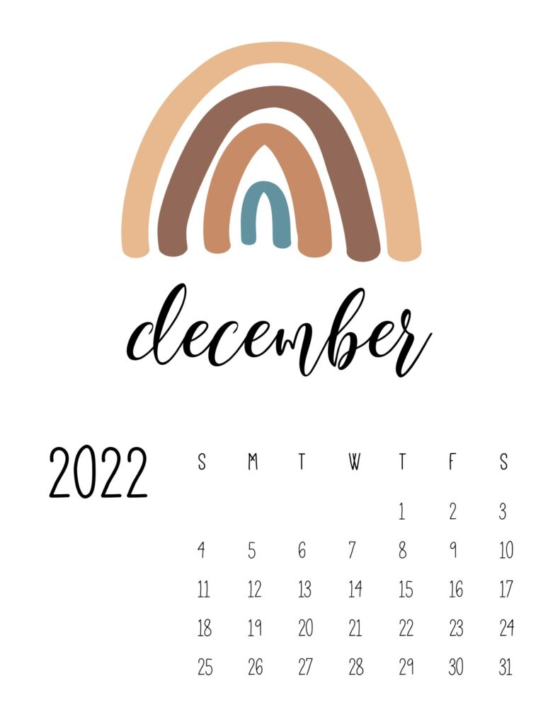 free printable 2022 rainbow calendar - december