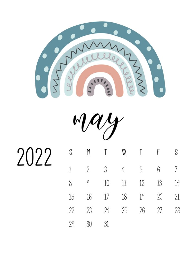 free printable 2022 rainbow calendar - may