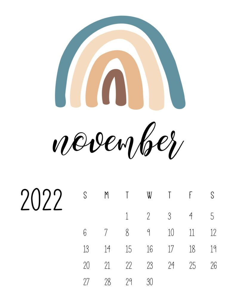 free printable 2022 rainbow calendar - november