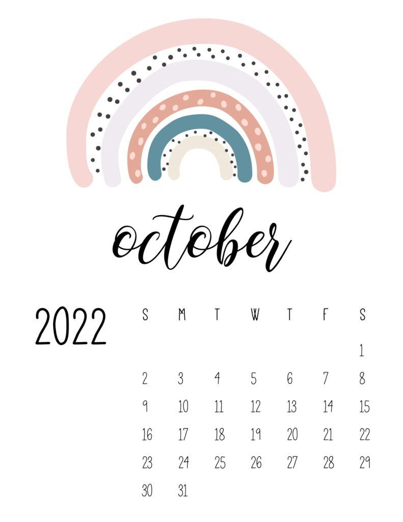 free printable 2022 rainbow calendar - october