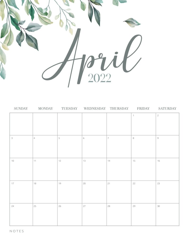 free printable calendar 2022 - april