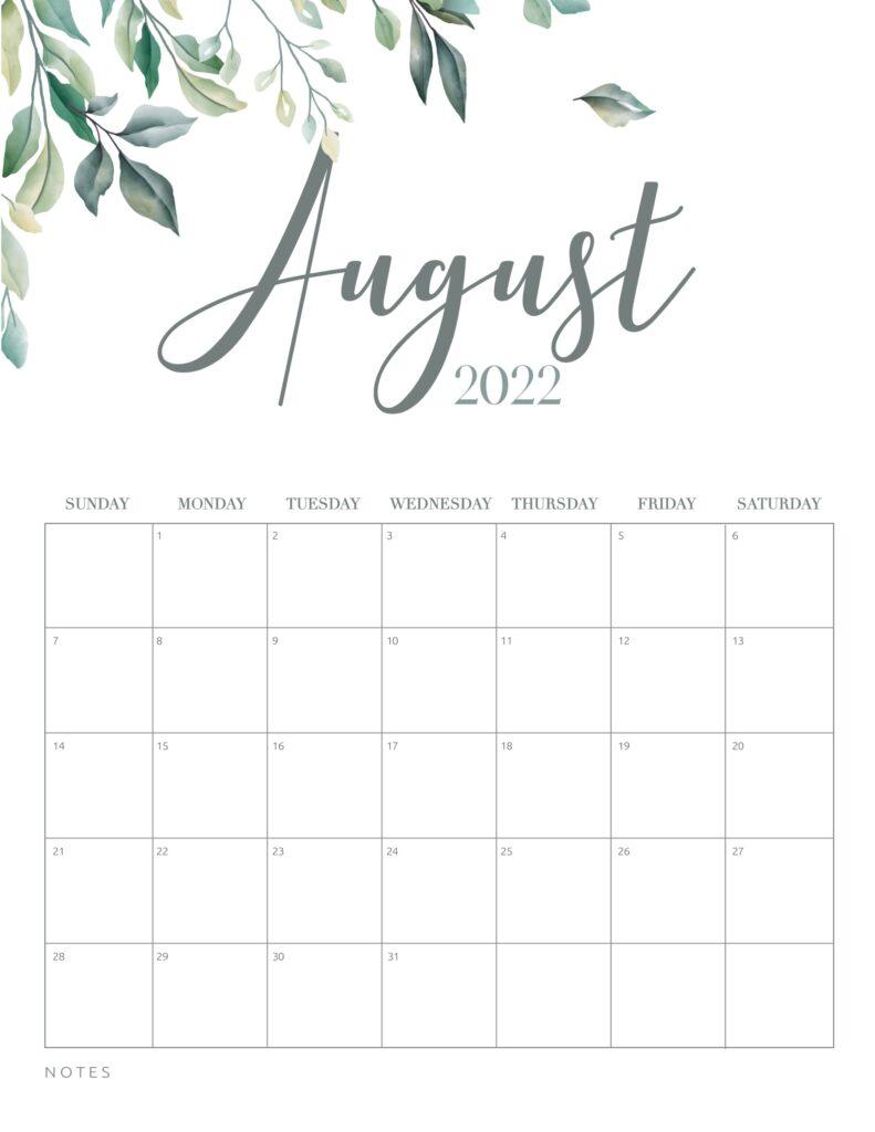 free printable calendar 2022 - august