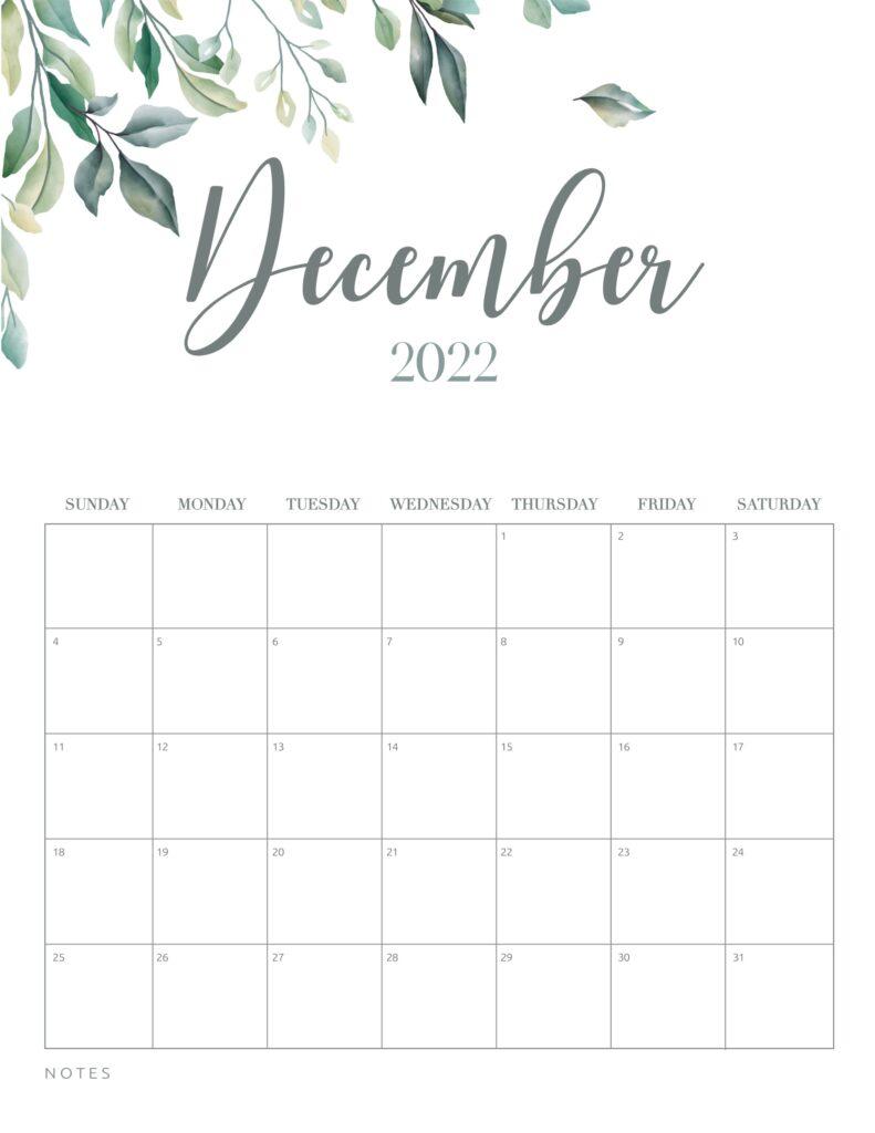 free printable calendar 2022 - december