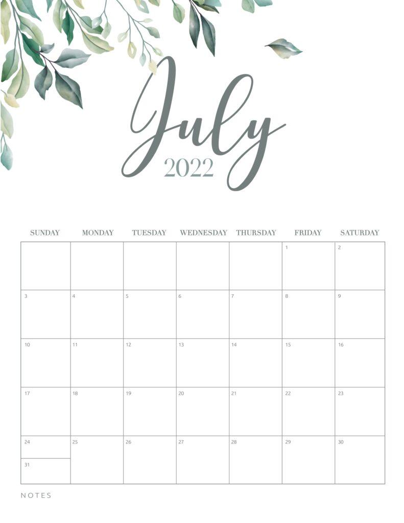 free printable calendar 2022 - july