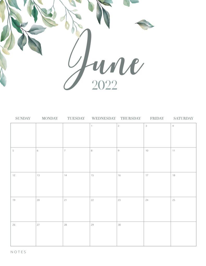 free printable calendar 2022 - june