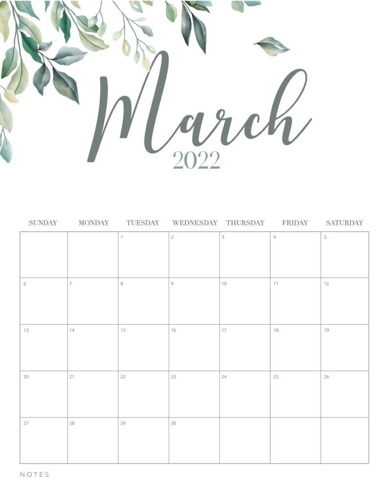 free printable calendar 2022 - march