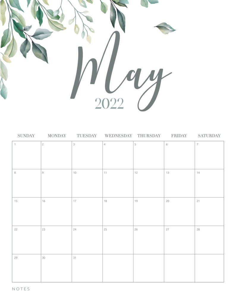 free printable calendar 2022 - may