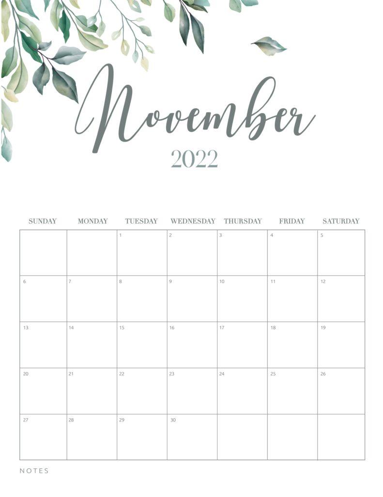 free printable calendar 2022 - november