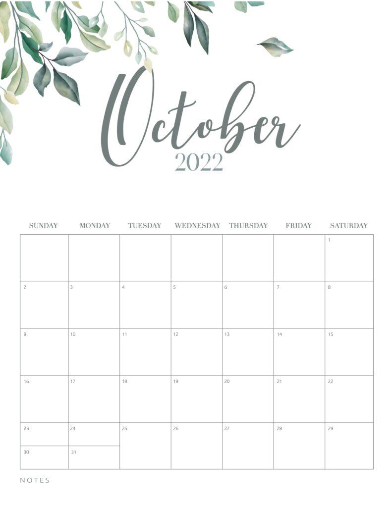 free printable calendar 2022 - october