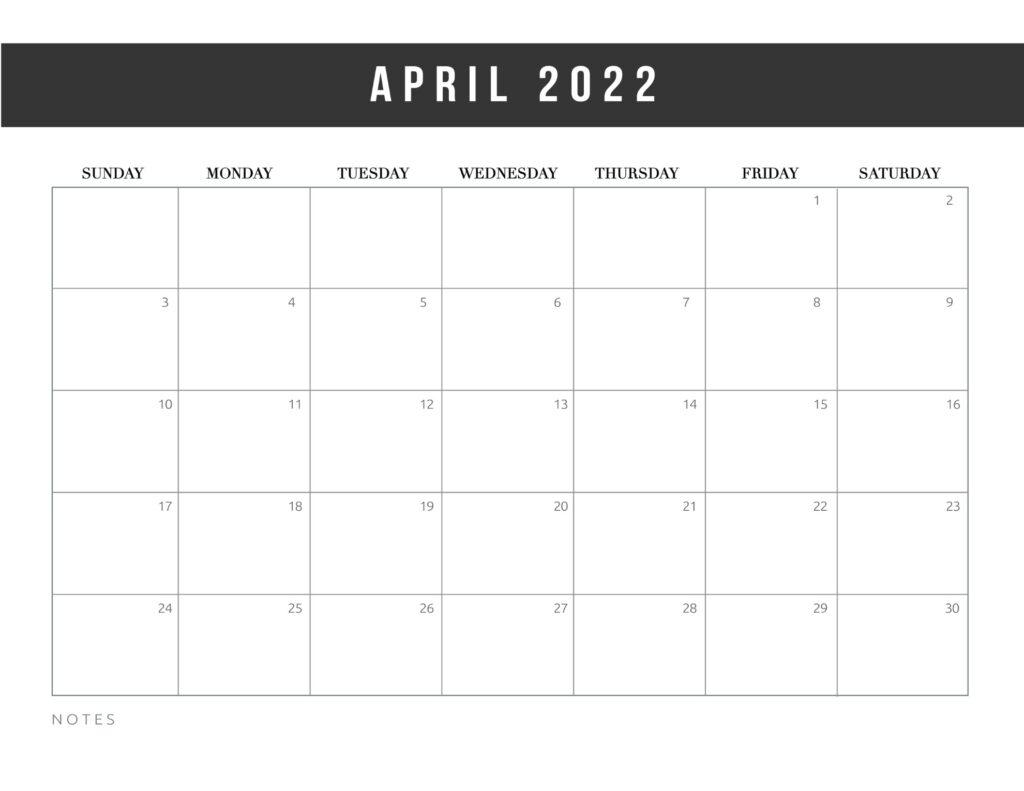 free printable calendar templates 2022 - april