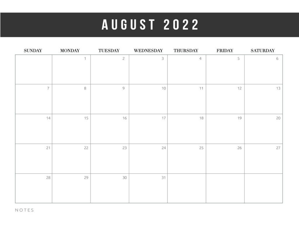 free printable calendar templates 2022 - august