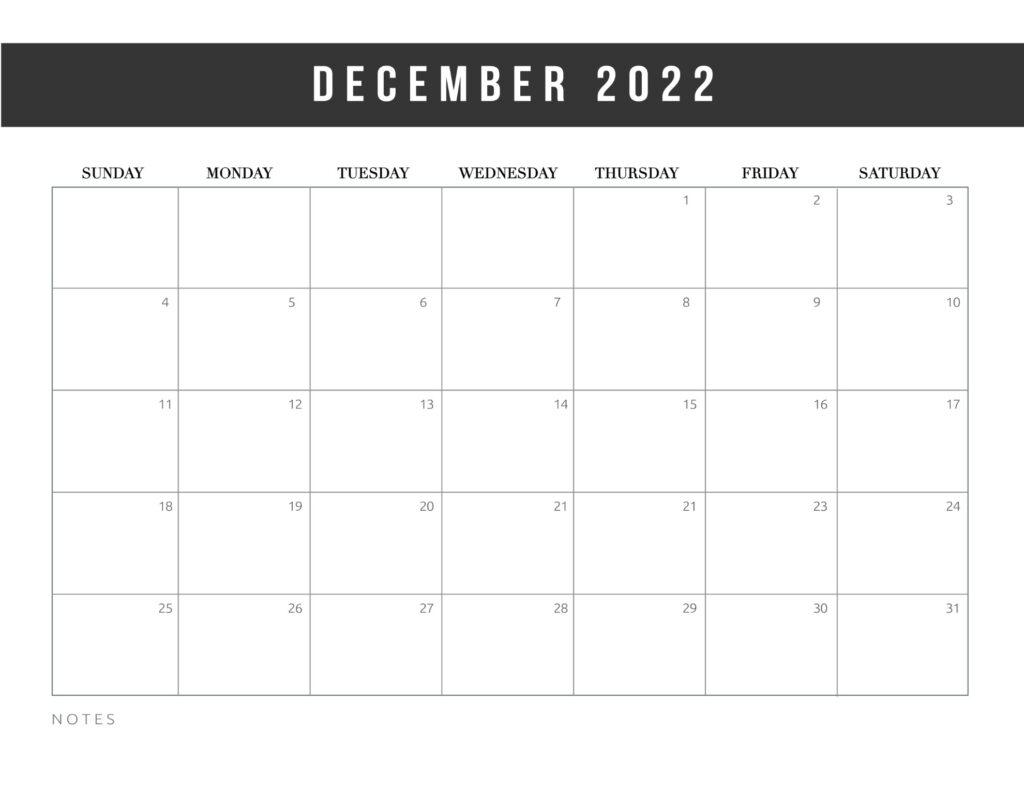 free printable calendar templates 2022 - december