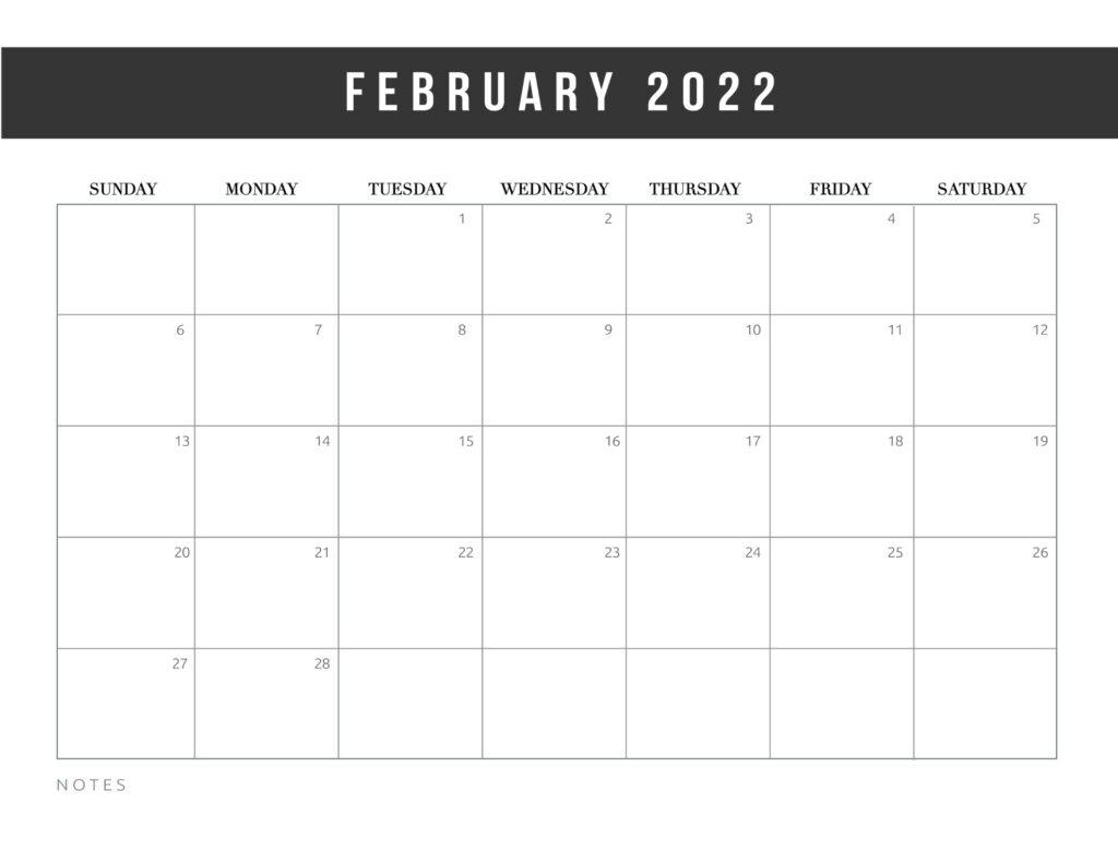 free printable calendar templates 2022 - February