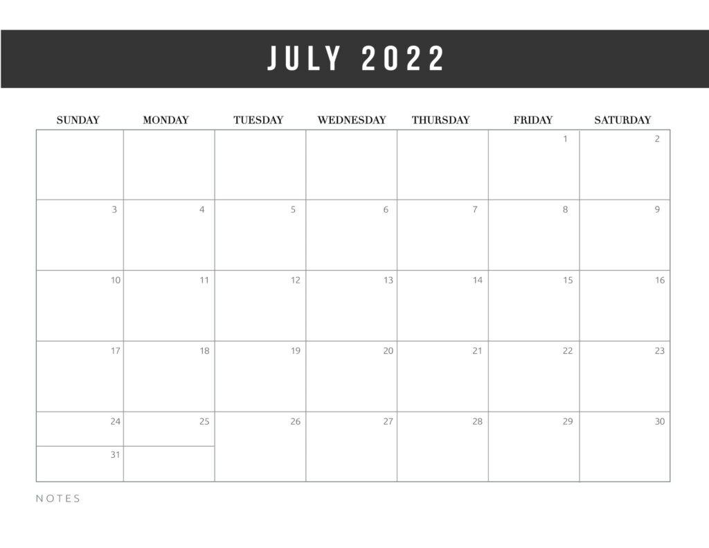 free printable calendar templates 2022 - july