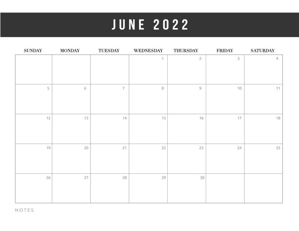 free printable calendar templates 2022 - june
