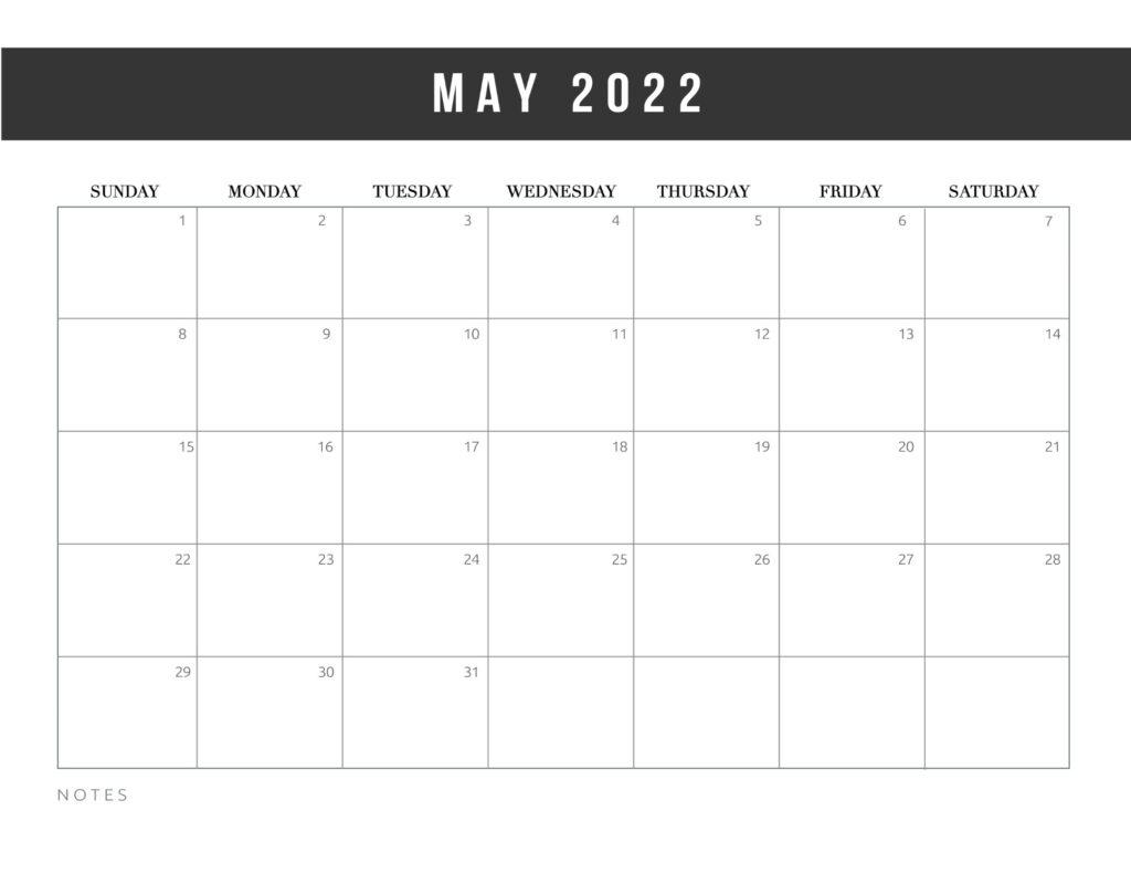 free printable calendar templates 2022 - may