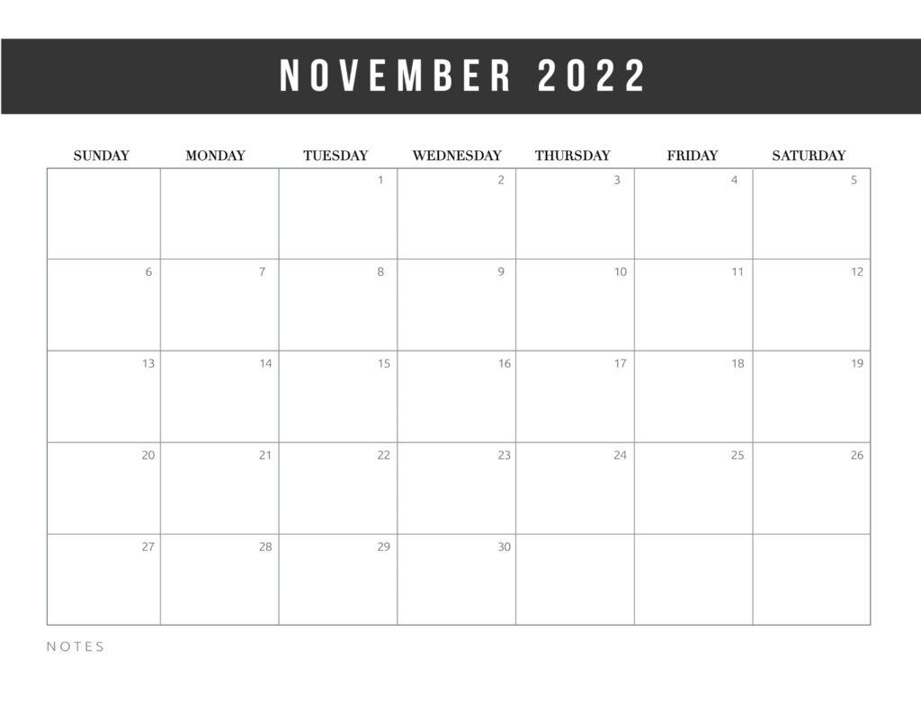free printable calendar templates 2022 - november
