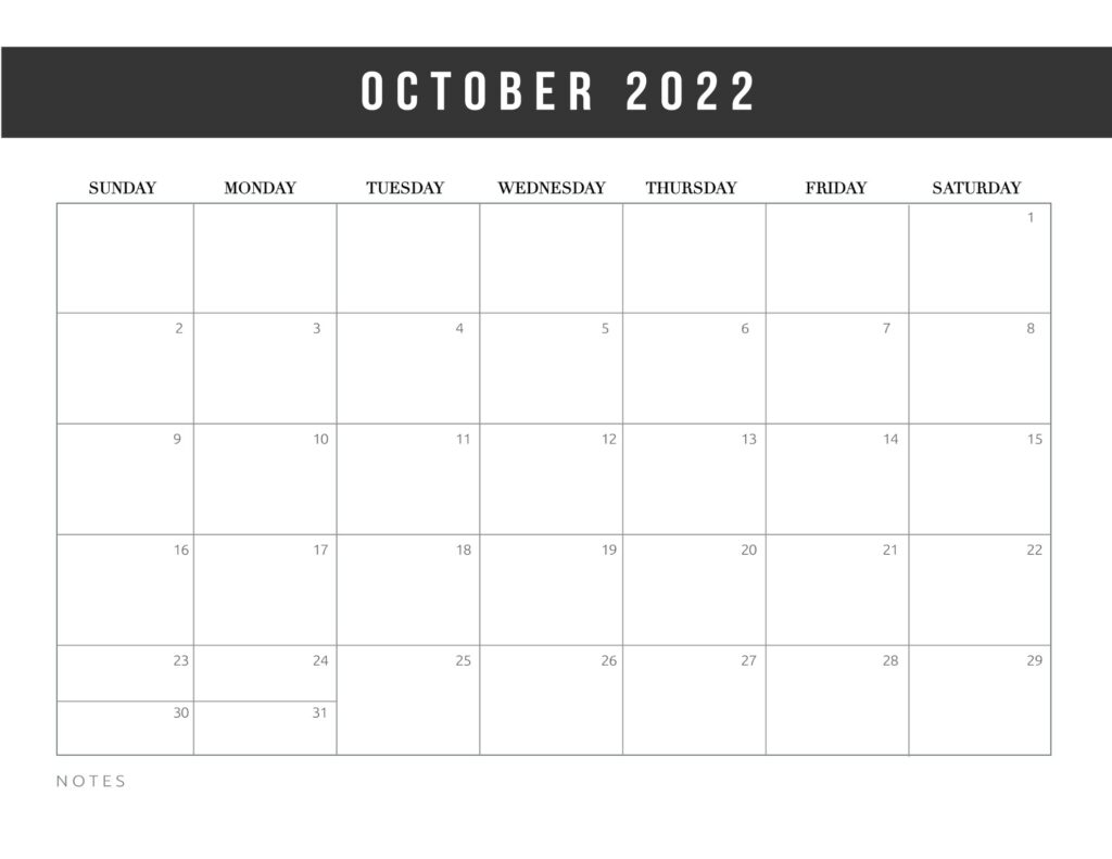 free printable calendar templates 2022 - october