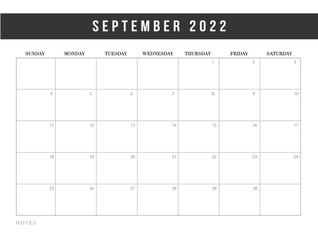 free printable calendar templates 2022 - september