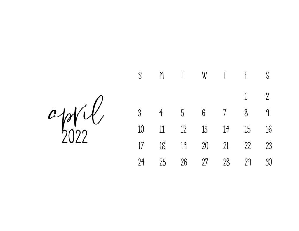 free printable calendars 2022 - april