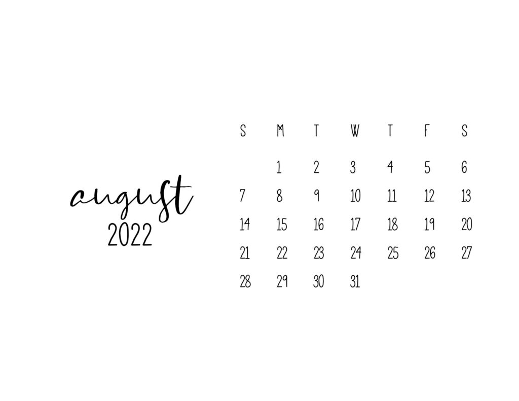 free printable calendars 2022 - august