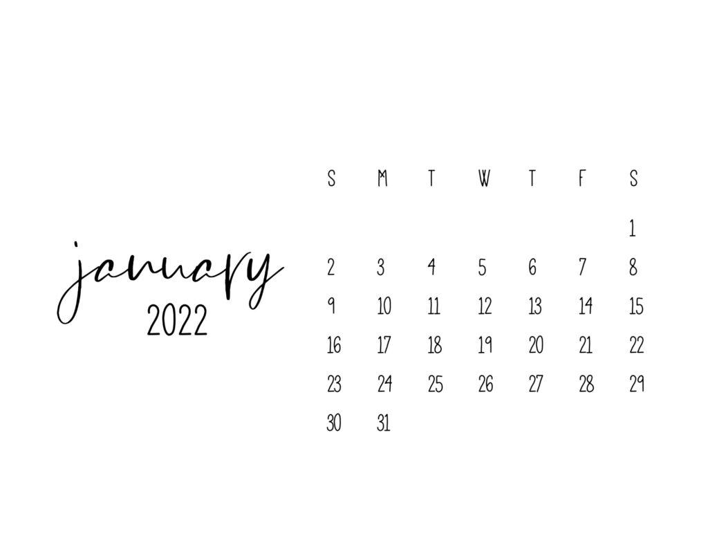 free printable calendars 2022 - january