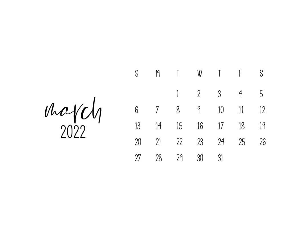 free printable calendars 2022 - march