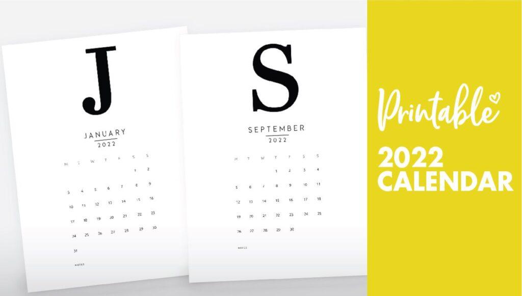 free printable monthly calendar 2022