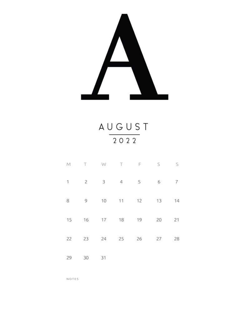 free printable monthly calendar 2022 - august