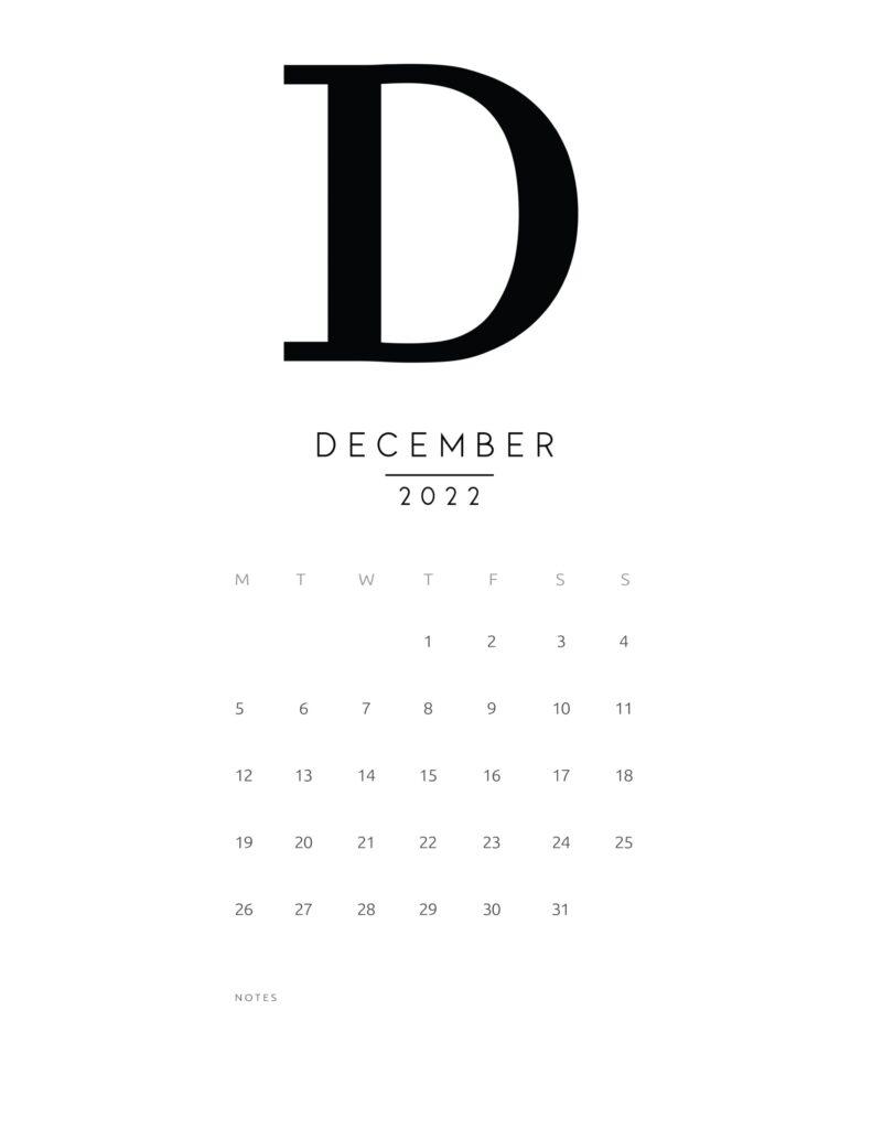 free printable monthly calendar 2022 - december