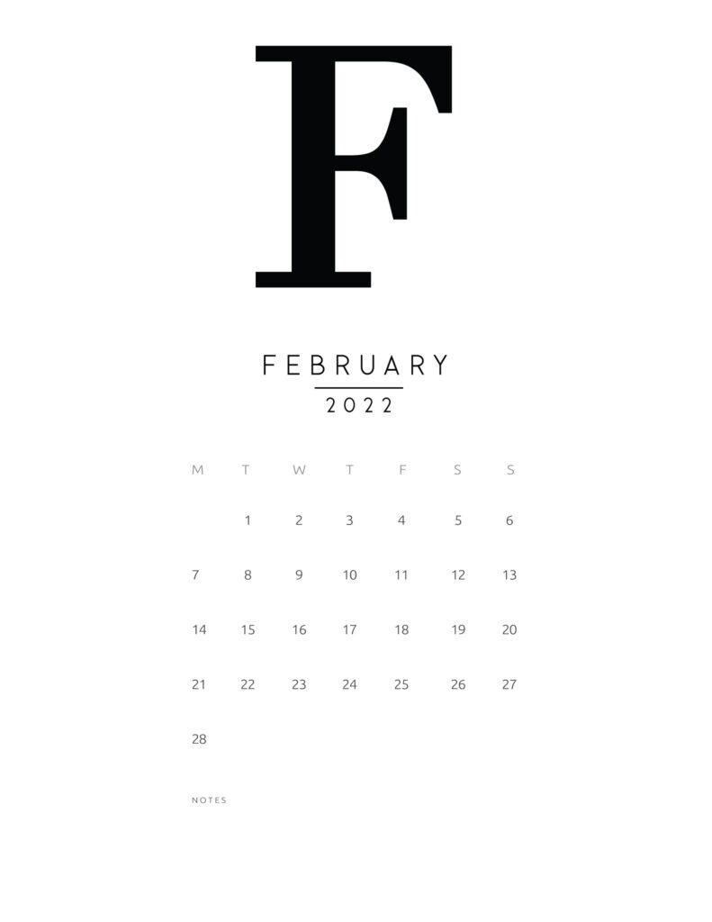 free printable monthly calendar 2022 - february