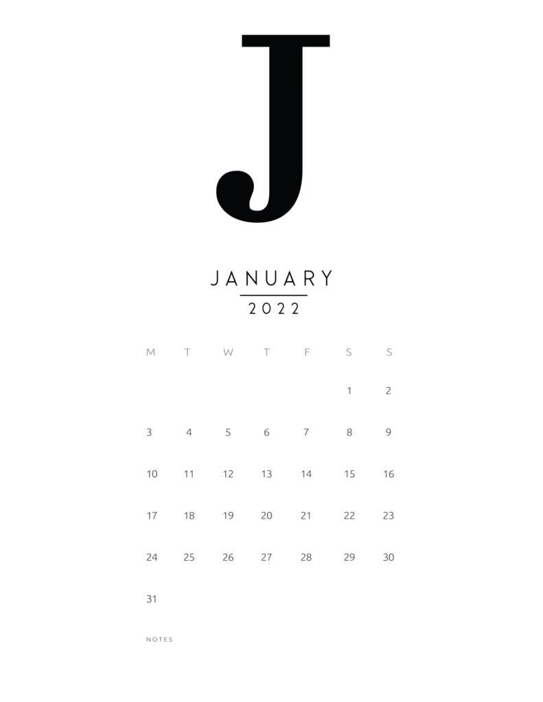 free printable monthly calendar 2022 - january