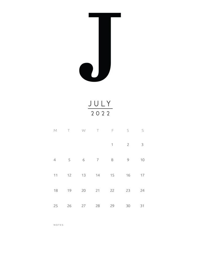free printable monthly calendar 2022 - july