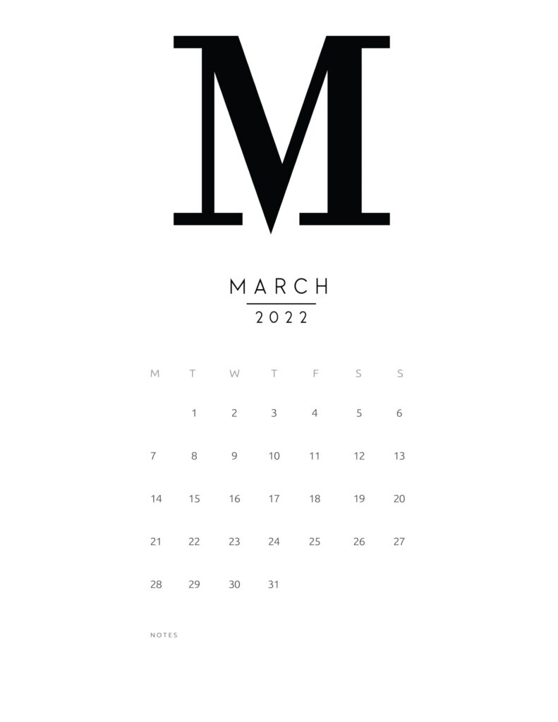 free printable monthly calendar 2022 - march