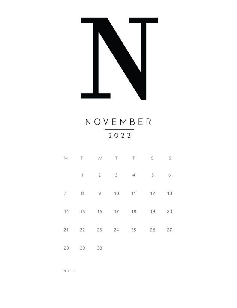 free printable monthly calendar 2022 - november