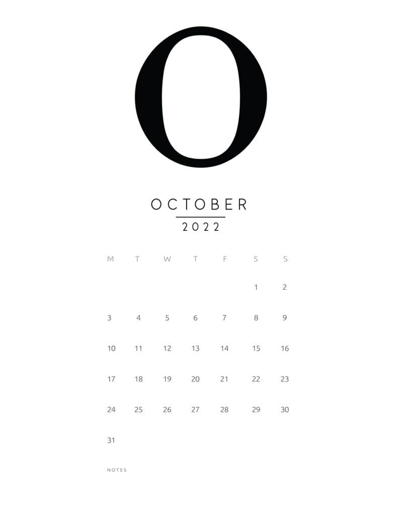 free printable monthly calendar 2022 - october