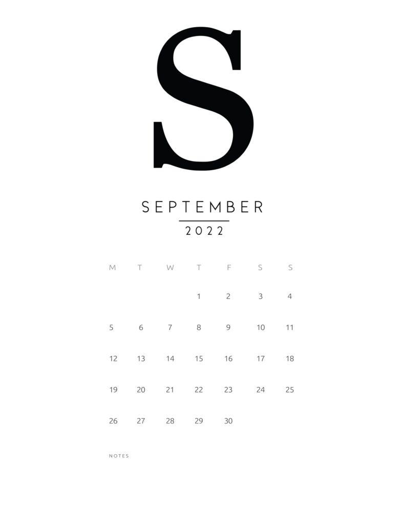 free printable monthly calendar 2022 - september