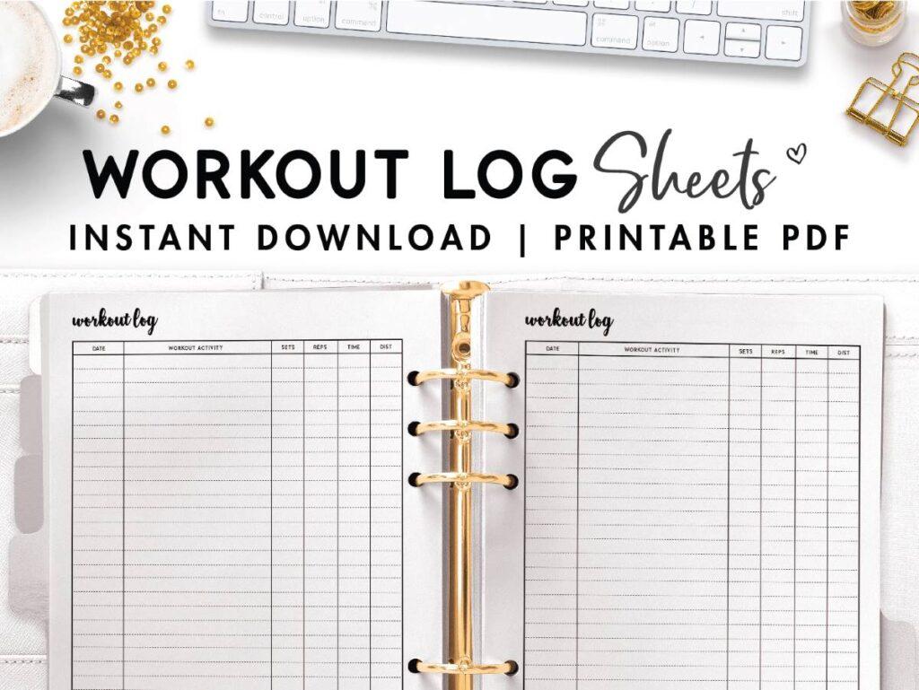 free printable workout log sheets