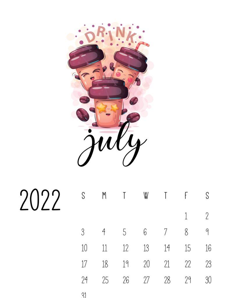 funny calendar 2022 - july