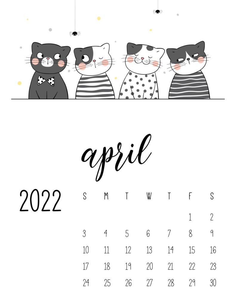 funny cat calendar 2022 - april